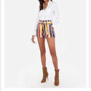 New Women's Express High Waisted Striped Shorts